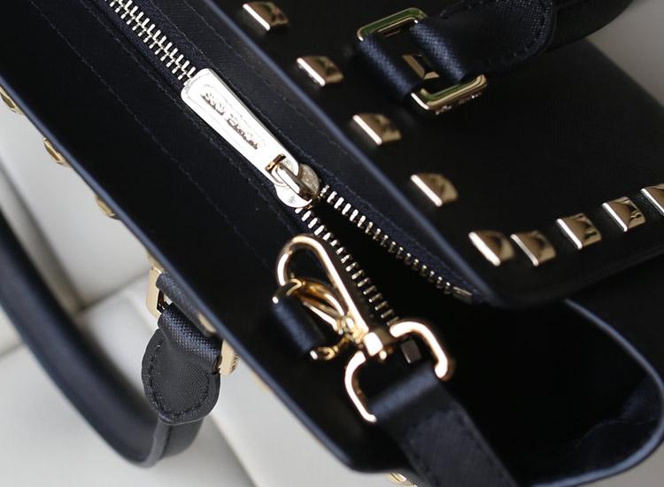MK女包 Michael Kors 铆钉包笑脸包黑色原版牛皮手提包斜挎包