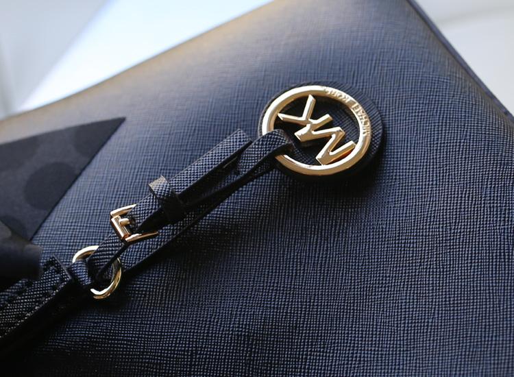 MK真皮包包 Michael Kors 黑色原版牛皮蝴蝶结真丝巾包单肩包女包
