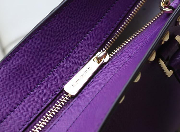 MK铆钉包 Michael Kors 蝙蝠包紫色原版十字纹牛皮手提包斜挎包
