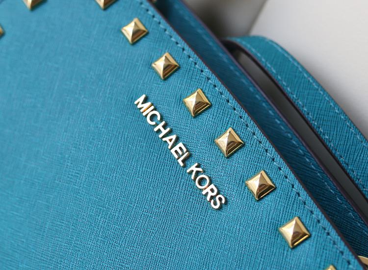 2014女包新款 MK Michael Kors 蝙蝠铆钉包小号蓝色十字纹牛皮斜挎包