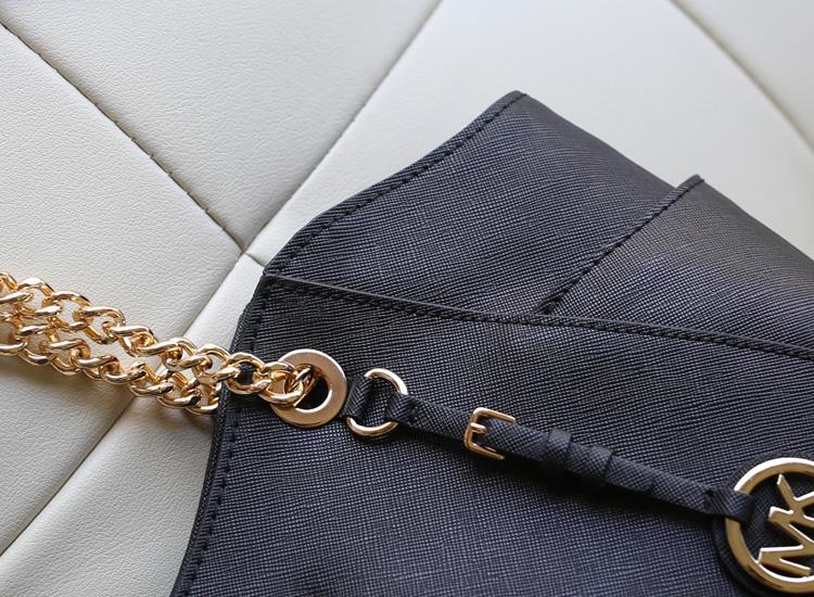 2014新款 Michael Kors 黑色真皮女包 金属链条手提单肩包 MK女包