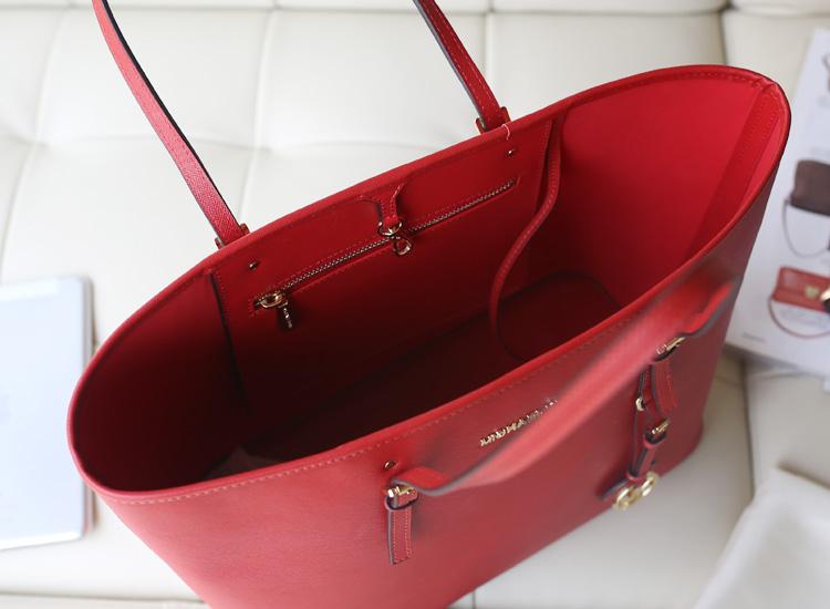 MK购物袋 michael kors 红色原版牛皮 复古简约单肩包女包