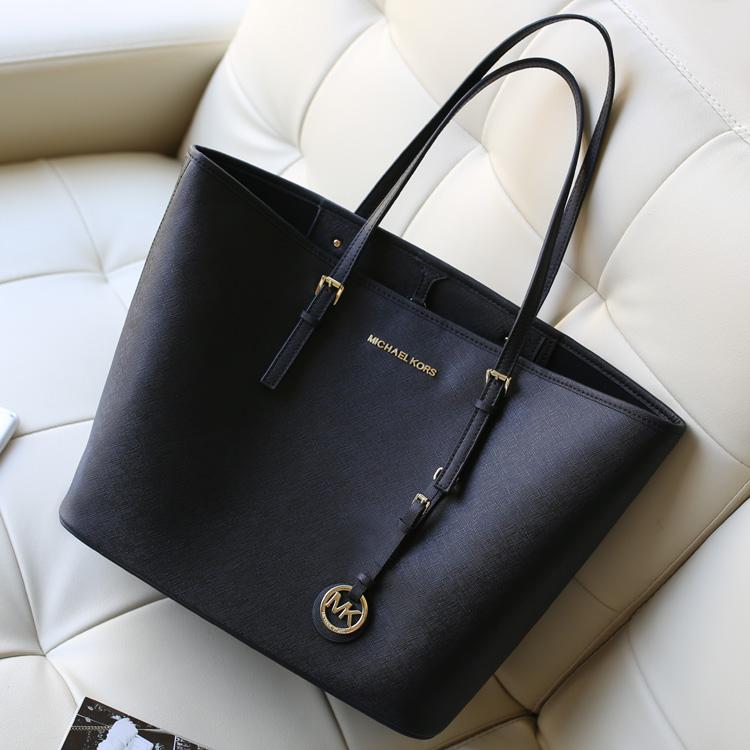 MK Michael Kors 黑色原版牛皮女士购物袋手提包单肩包