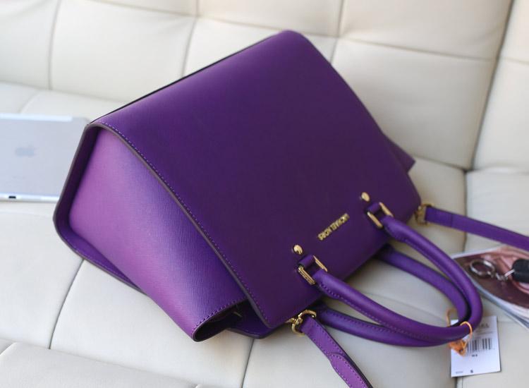 MK包包 Michael Kors selma大号紫色十字纹牛皮蝙蝠包手提单肩包