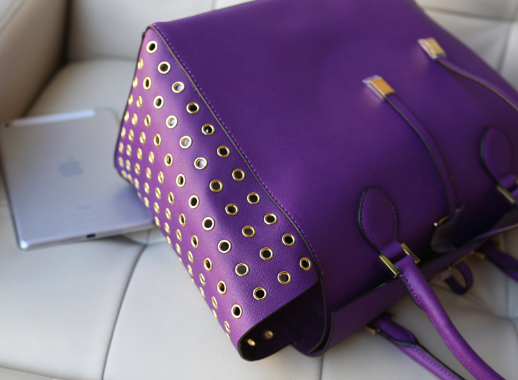 MK铆钉包 Michael Kors 紫色十字纹牛皮鸡眼侧镂空抽绳手提包女包