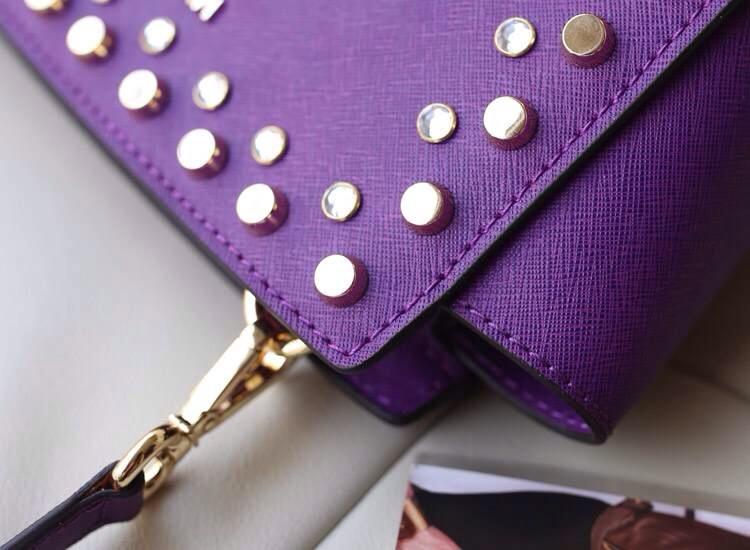 热销michael kors MK包包 双排钻十字纹牛皮耳朵包单肩包紫色