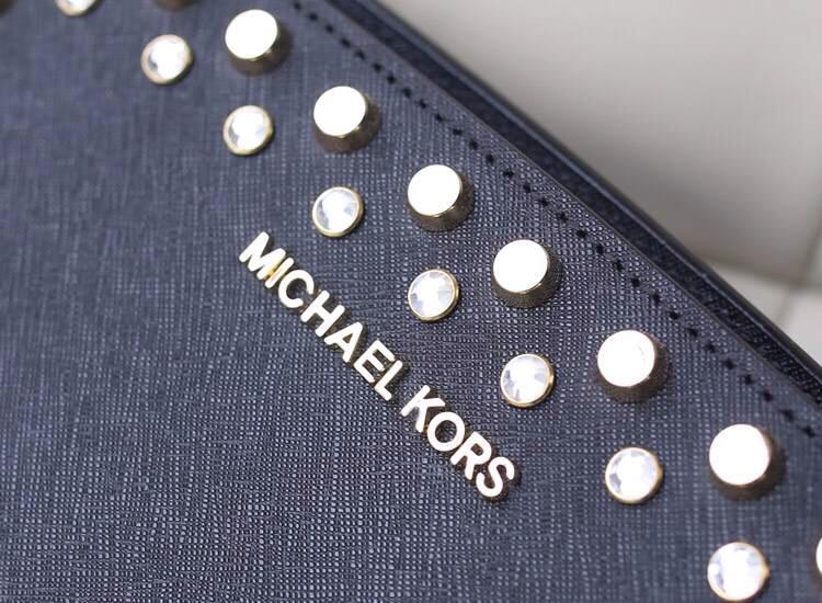淘宝热销michael kors MK女包 双排钻黑色十字纹牛皮耳朵包单肩包