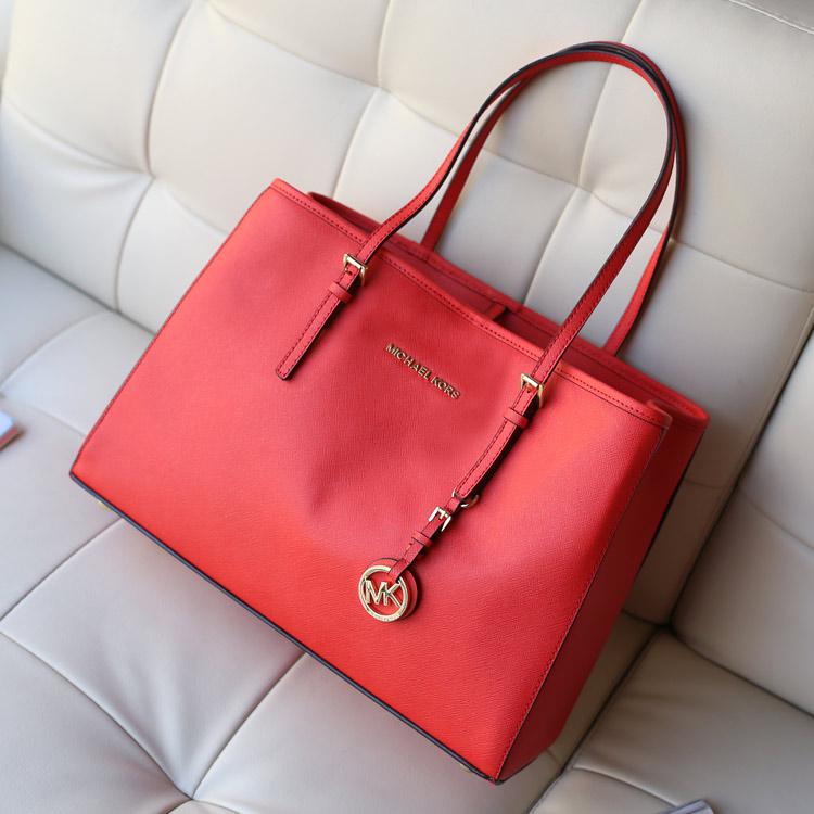 早春新款 michael kors MK原版十字纹牛皮女士单肩包购物袋红色