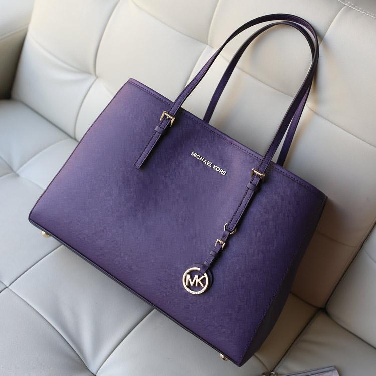 michael kors MK原版十字纹牛皮女士单肩包购物袋紫色