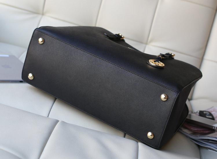 2014新款 michael kors MK原版十字纹牛皮女士单肩包购物袋黑色