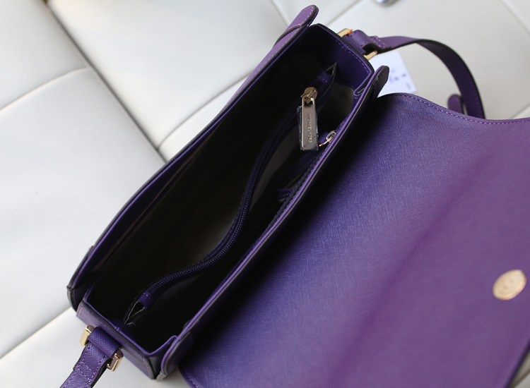 淘宝热销MK女包 Michael Kors 空姐包紫色十字纹原版牛皮单肩斜挎包
