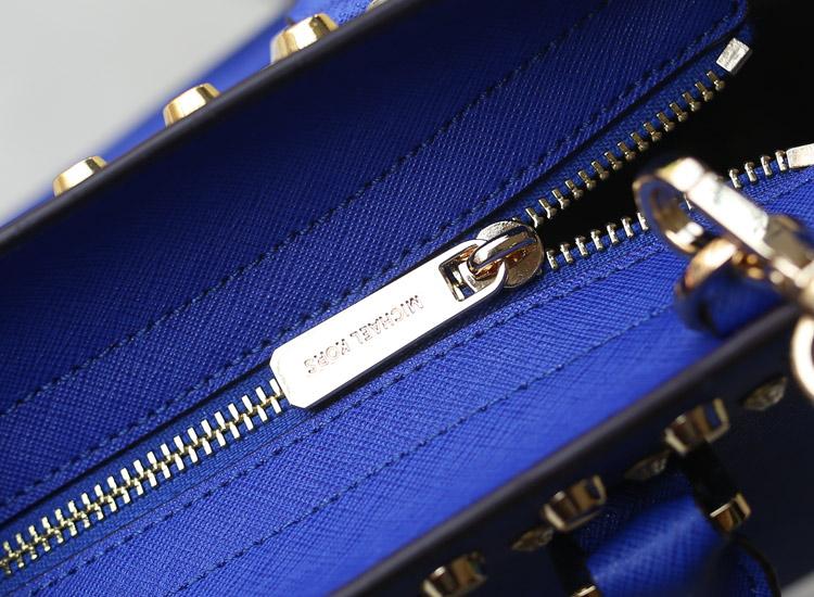淘宝热销michael kors MK女包 原版十字纹牛皮双排钻蝙蝠包中号电光蓝