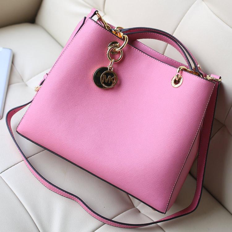 2014新款包包 michael kors  mk玳瑁包原版十字纹牛皮粉色女包