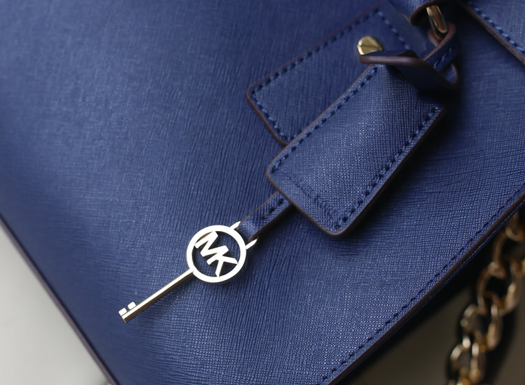 MK 锁头包 真皮包包 宝蓝进口十字纹牛皮 女包批发