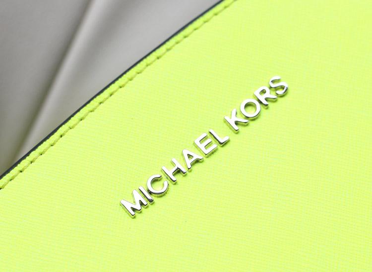 MK包包批发 Michael Kors Selma蝙蝠包小号荧光黄拼黑色牛皮女包