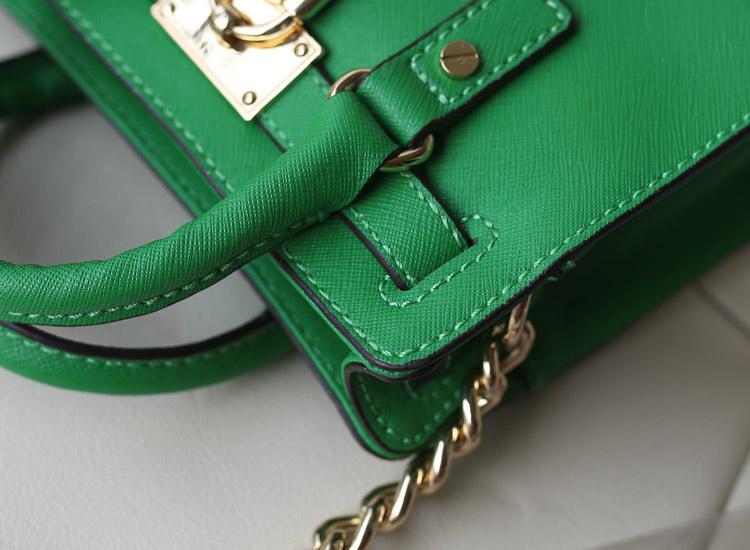 MK女包  2014 Hamilton 迷你锁头包 绿色原版十字纹牛皮