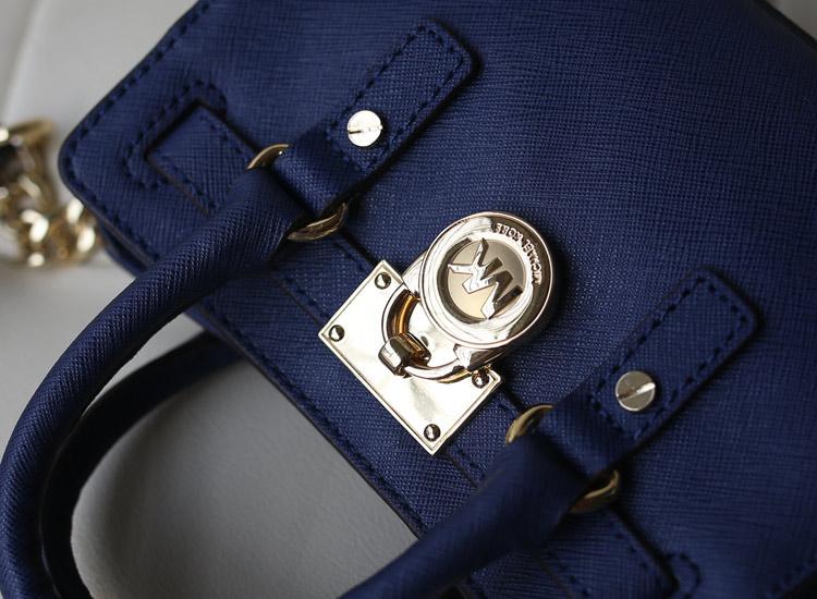 一件代发 MK  2014 Hamilton 迷你锁头包 原版牛皮 宝蓝