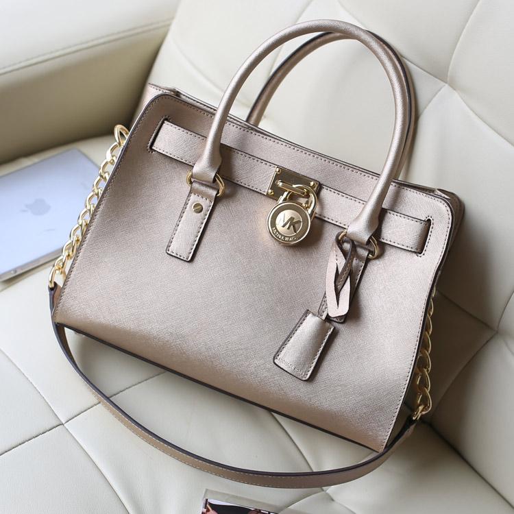 MK原版皮包包 2014新款 Hamilton 金色 中号锁头包