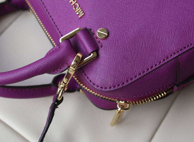 新款出货 Mk Jet Set 小号十字纹牛皮手提斜挎枕头包 紫色