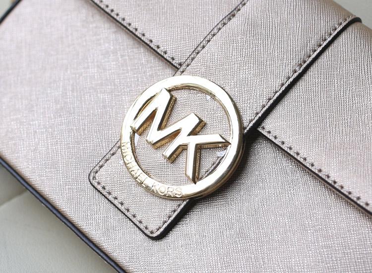 高档欧美女包 MK盖头单肩斜挎包 金色 原版牛皮十字纹