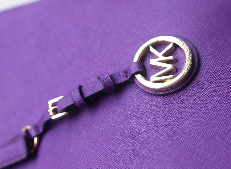 简约时尚女包 MK新款隔层购物袋单肩包 深紫 十字纹牛皮