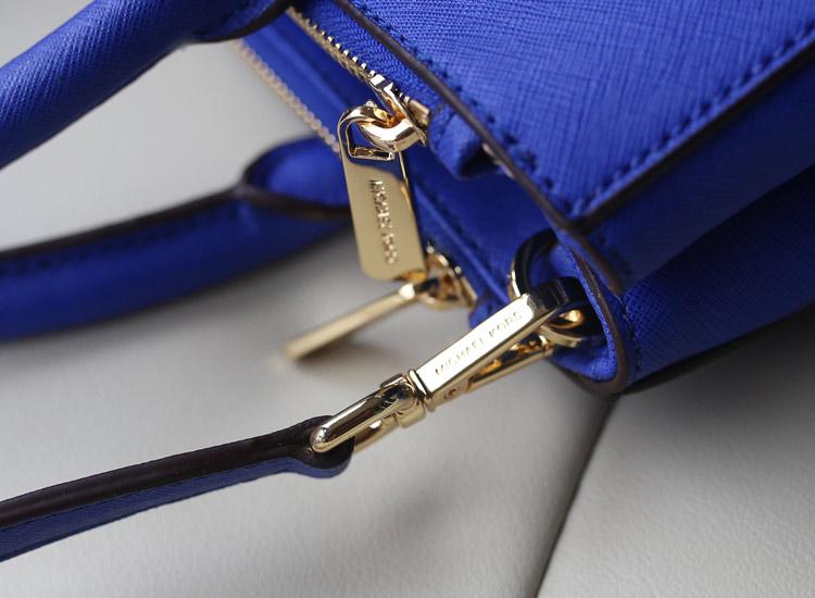 MK2014专柜新款杀手包出货 电光蓝原版十字纹牛皮 手提女包