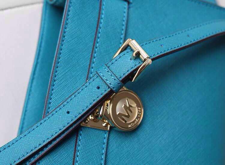 一件代发 MK Michael Kors 孔雀绿 原版十字纹牛皮锁包 单肩女包