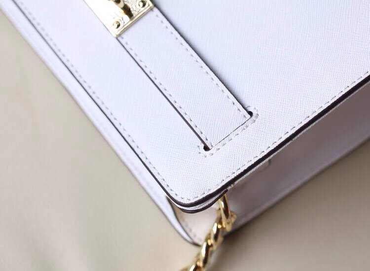 MK新款 白色 原版十字纹牛皮单肩斜挎锁包 时尚新款女包批发