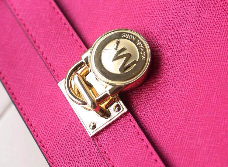 MK新款 原版十字纹牛皮单肩斜挎锁包 时尚女包批发 玫红