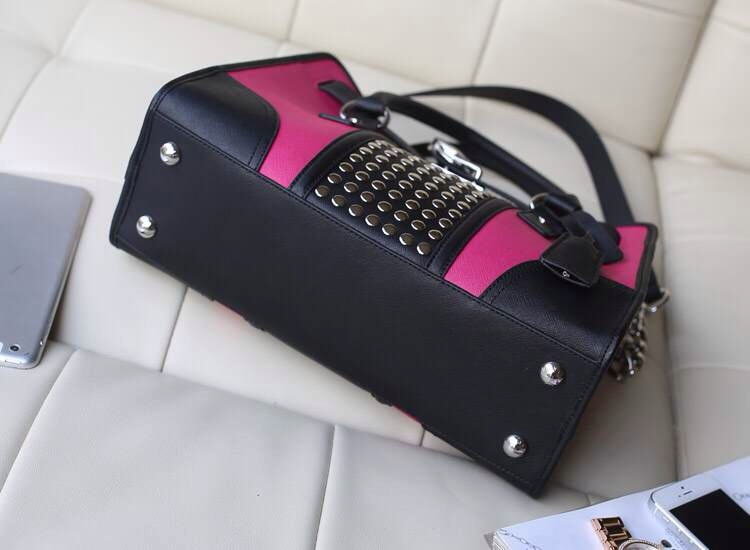 2014新款真皮女包 MK原版牛皮拼色铆钉锁头包中号 玫红手提包