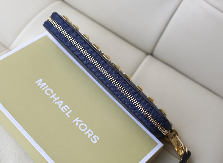 时尚新款女钱包 MK铆钉钱包 宝蓝 十字纹牛皮 长款女士钱夹手拿包