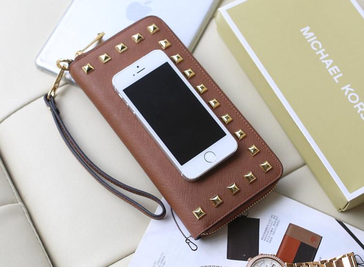 厂家直销 MK钱包原版皮 咖啡色 十字纹牛皮拉链女钱包 时尚手拿包