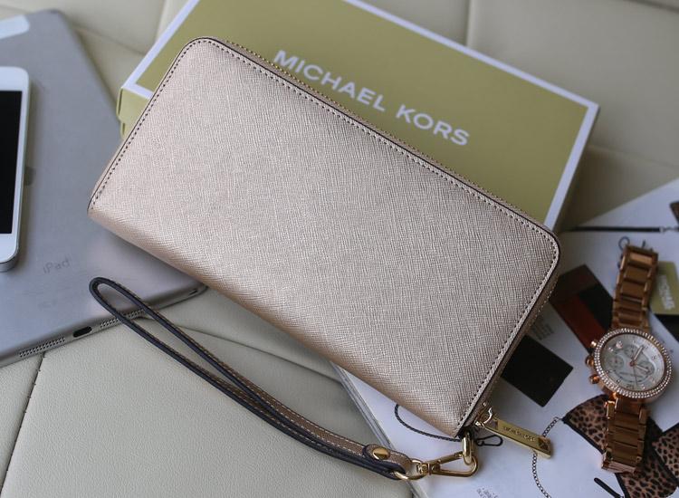 厂家直销 MK铆钉钱包 原版十字纹牛皮 金色女士手拿包钱包新款