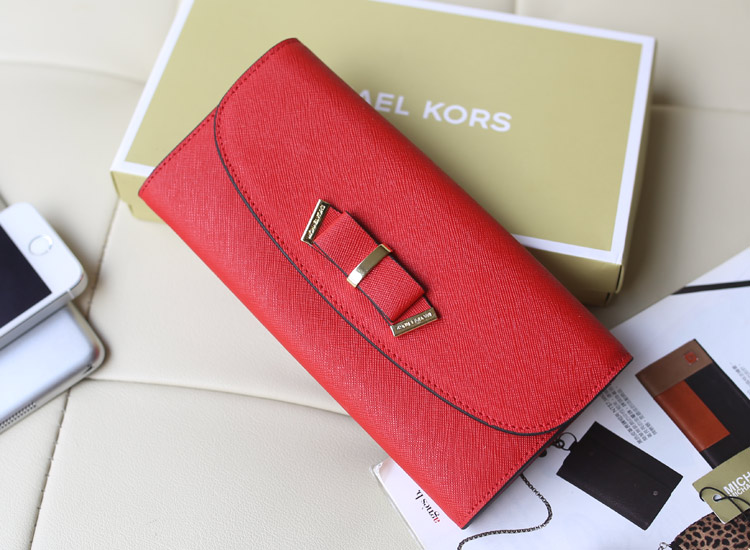 实拍 MK钱包蝴蝶结款 原版十字纹牛皮 大红色 翻盖女士钱包手拿包