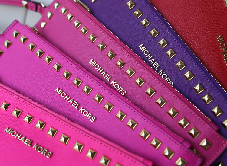 MK2014新款铆钉手包原版牛皮四色现货 时尚女士真皮手拿包