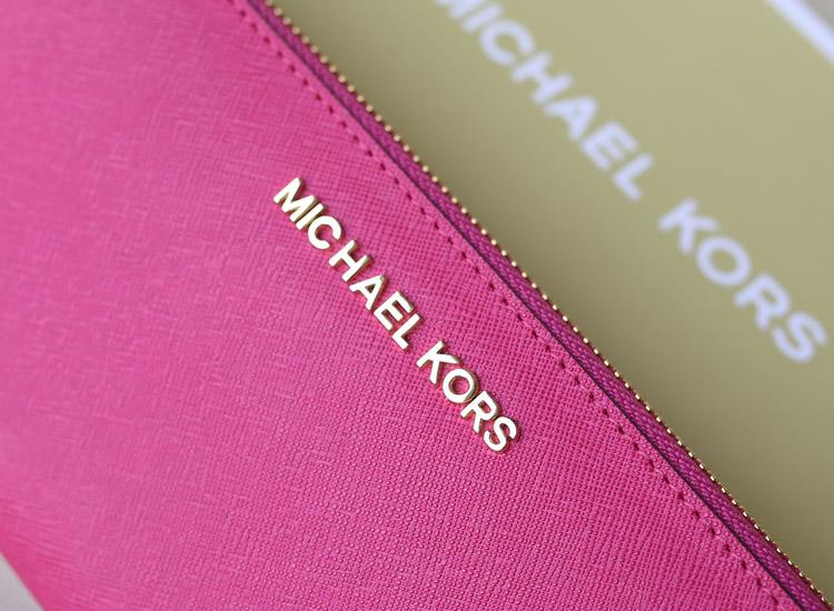 MK钱包批发 玫红色原版牛皮 拉链钱包长款女士钱夹手包