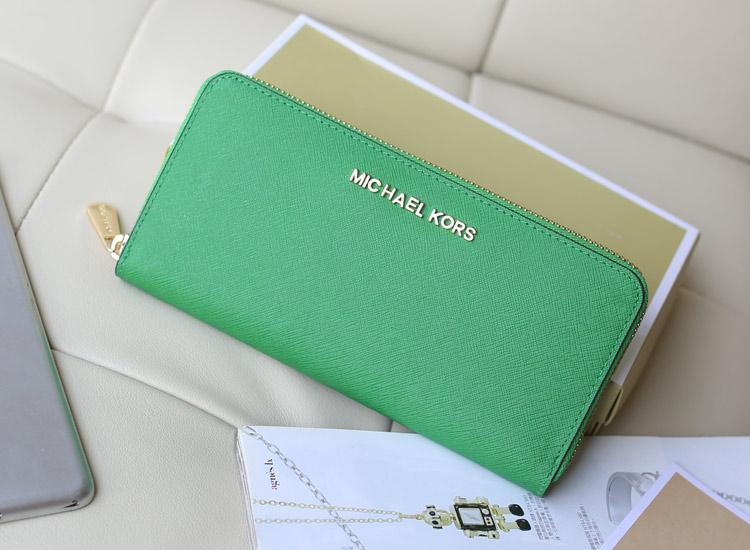 高档女包批发 MK拉链钱包无钉款 绿色十字纹牛皮女手包