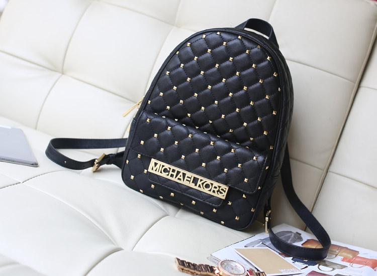 MK专柜新款 铆钉小羊皮双肩背包 黑色原版皮背包真皮包包