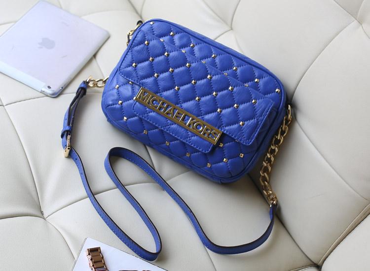 2014新款女包 MK原版小羊皮铆钉单肩包斜挎包 电光蓝