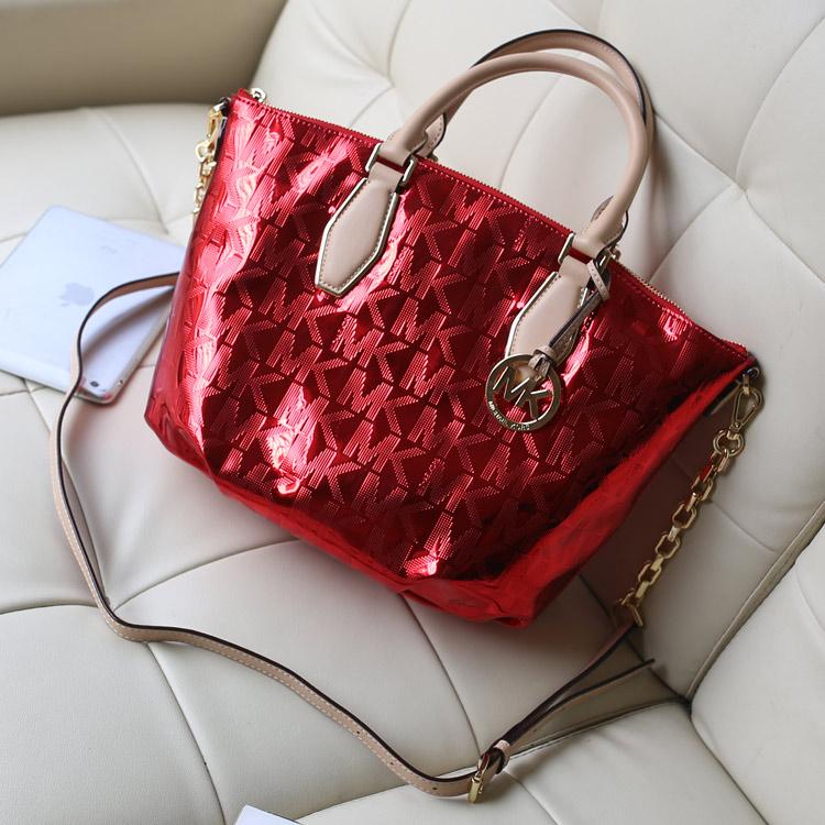 MK2014专柜新款 烫金字母枕头包红色 女士手提单肩斜挎包 原版皮