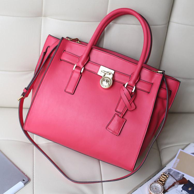欧美女包 MK新款女包 原版牛皮玫红色 蝙蝠锁头包女士手提包