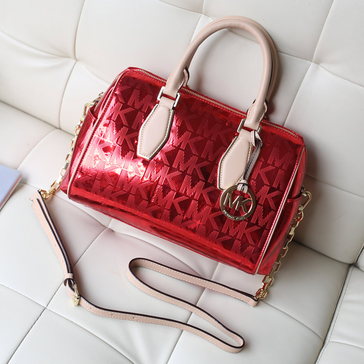 厂家直销 MK原版皮烫金字母链条包 红色手提枕头包单肩斜挎女包