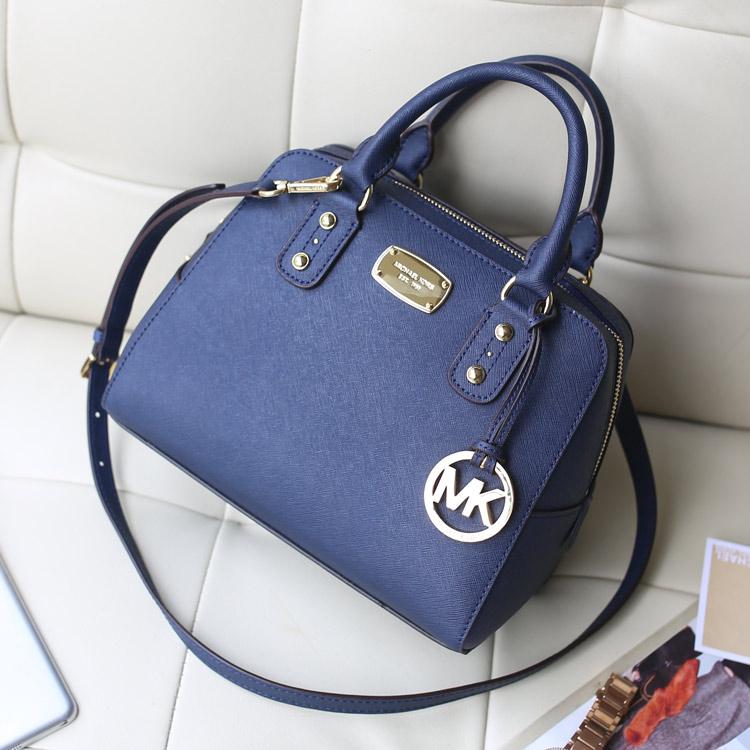 一件代发 MK原版顶级十字纹牛皮 2014专柜新款贝壳枕头包中号 深蓝