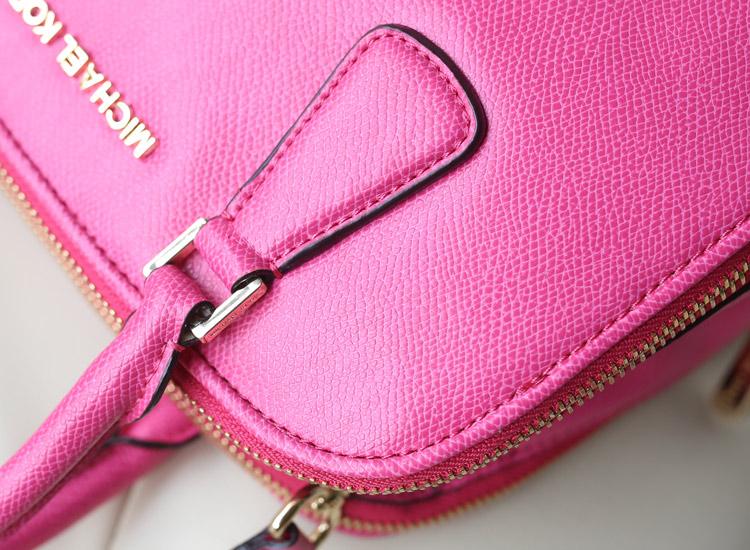一件代发 MK专柜新款 原版牛皮双拉链贝壳包 真皮女包手提斜挎包 玫红
