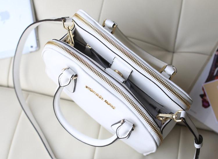 Michael Kors MK进口原版牛皮双拉链贝壳包 白色 新款女包真皮