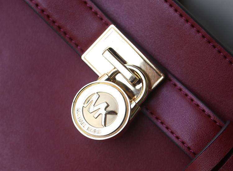MK 2014秋冬新款蝙蝠笑脸锁头包小号 原版进口牛皮 酒红色