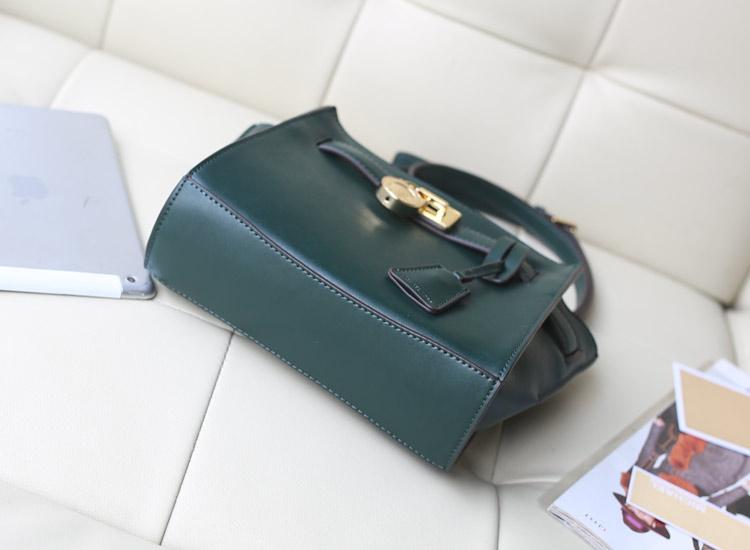 厂家直销 MK高仿包包 2014秋冬新款蝙蝠锁头包墨绿色小号 进口牛皮女包