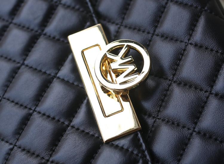一件代发 MK2014专柜同步新款 原版羊皮菱格包链条单肩包 黑色