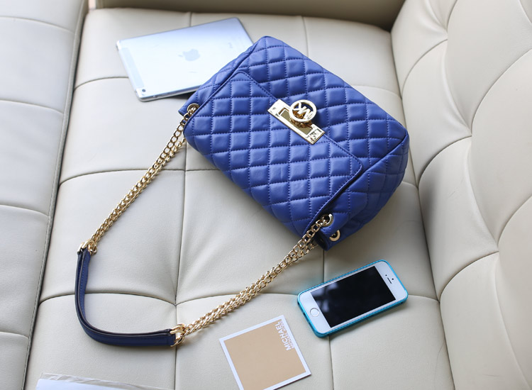 高档女包批发 Michael Kors MK2014新款链条单肩包 电光蓝原版羊皮菱格包