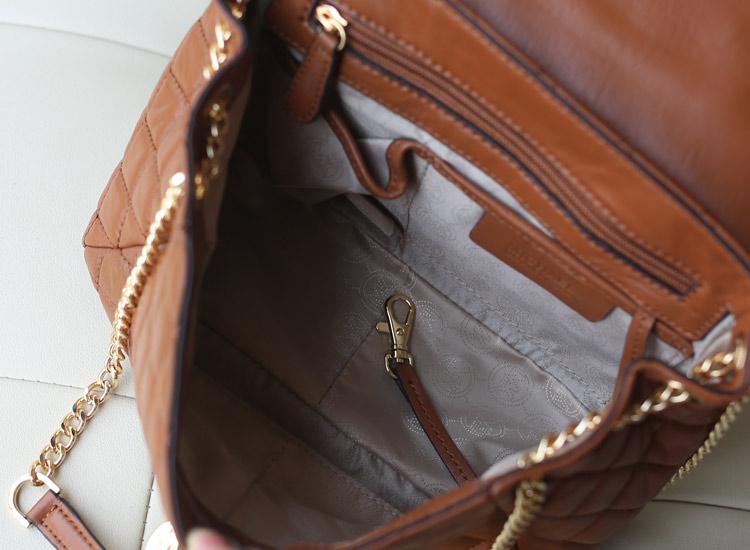 一件代发 MK原版皮女包 进口羊皮菱格链条包 咖啡色 高档真皮单肩女包